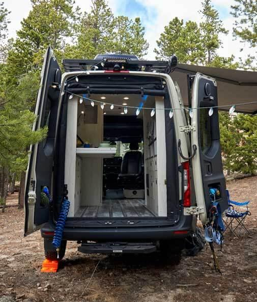Lights hung up on the back of an Antero Adventure Van