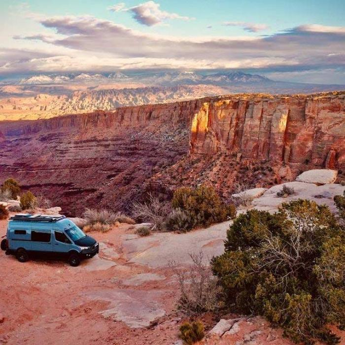 An Antero Adventure Van from a high vantage point overlooking a red rock canyon