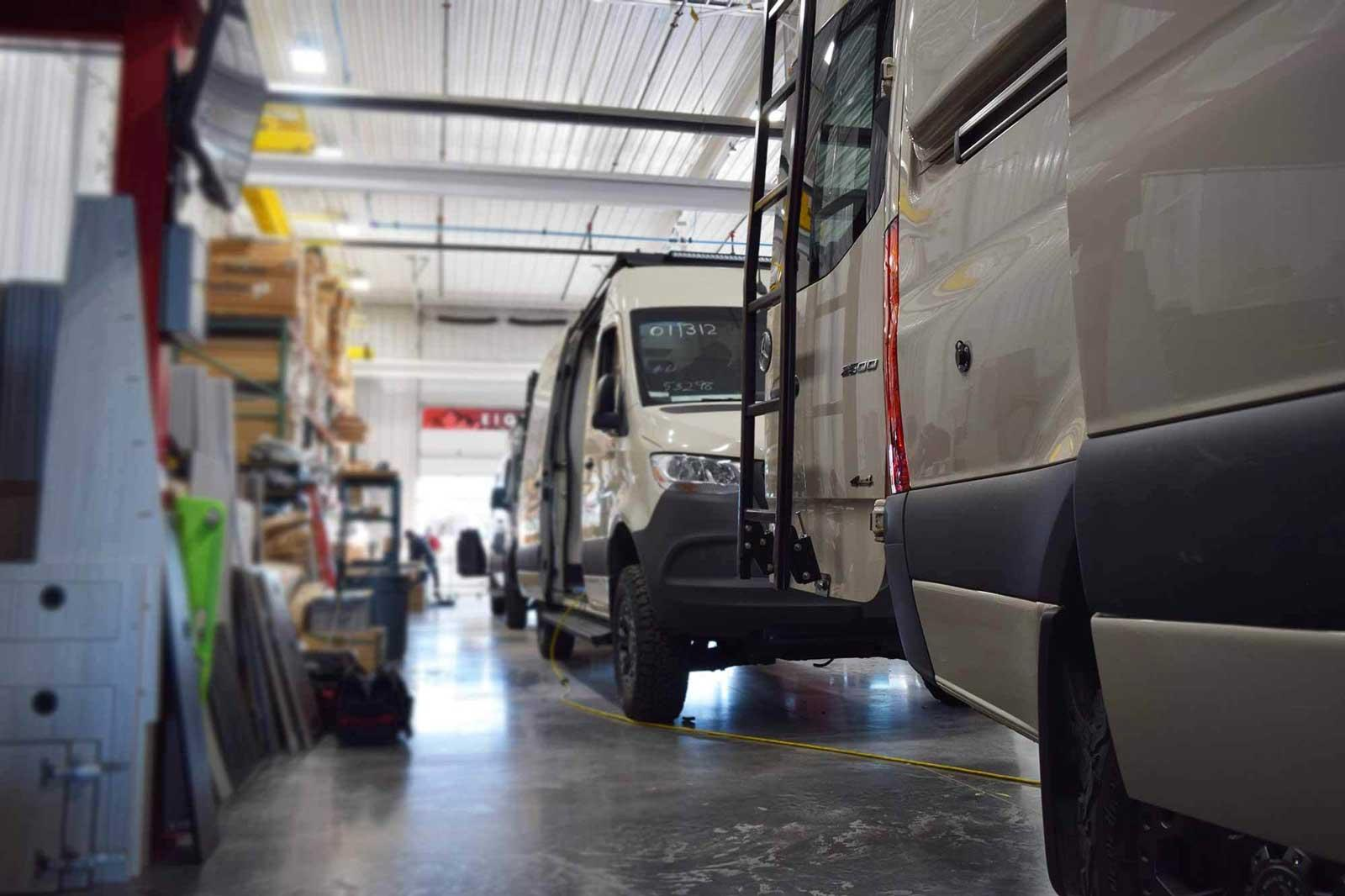 Antero Adventure Vans in a production facility