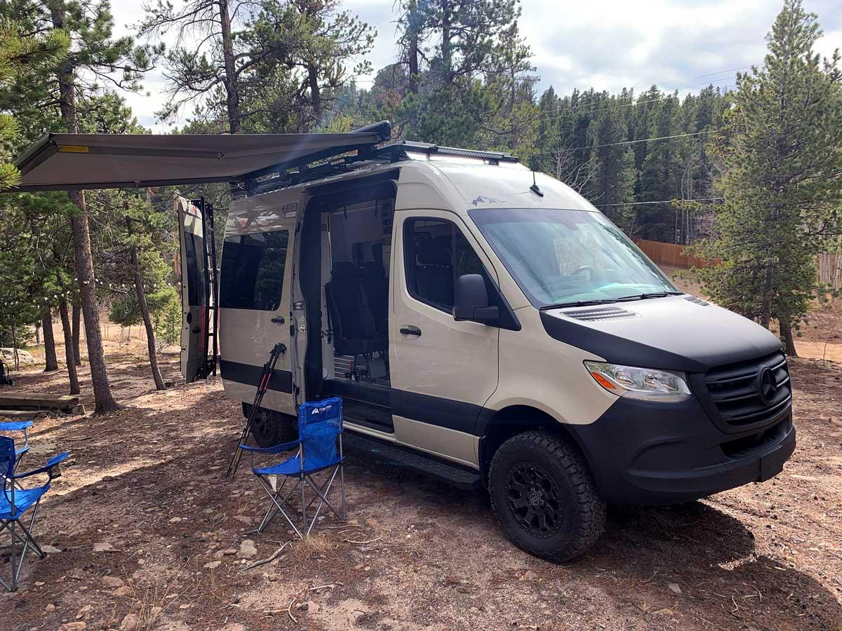 The canopy of an Antero Adventure Van propped up