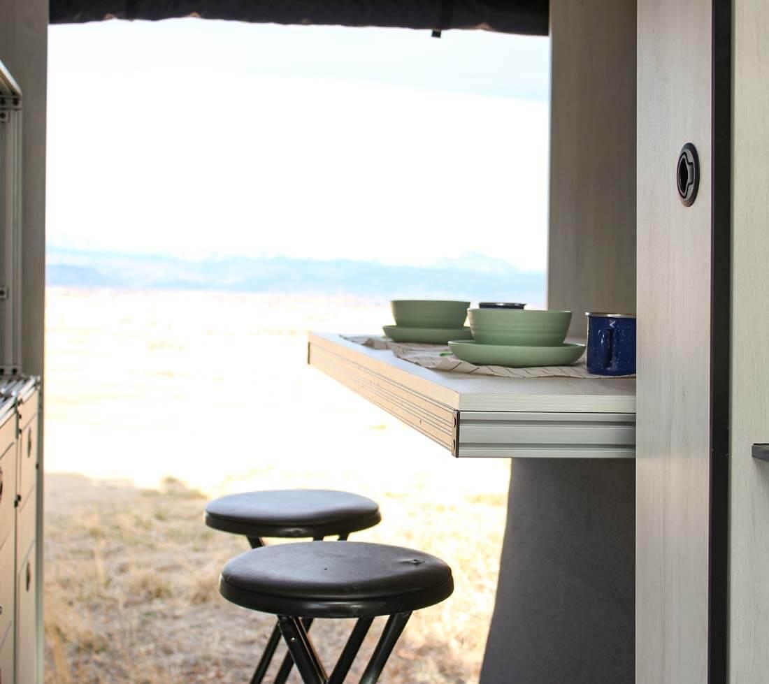 The dining table set up of the Pikes Peak Antero Adventure Van