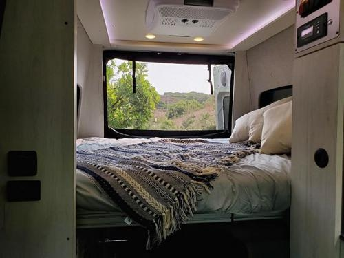 The bedding of a Summit Adventure Van